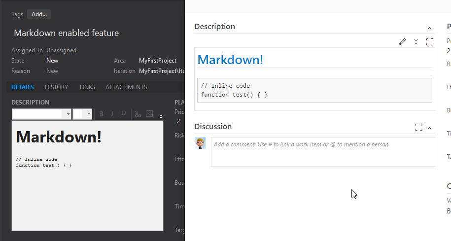 VS displaying Markdown edited content