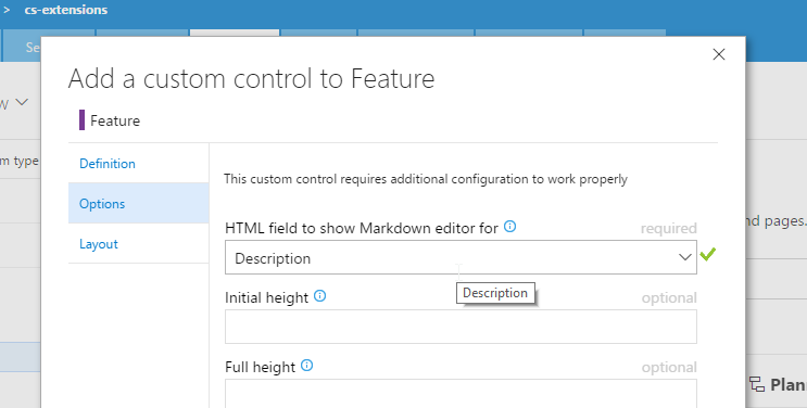Configure Markdown control